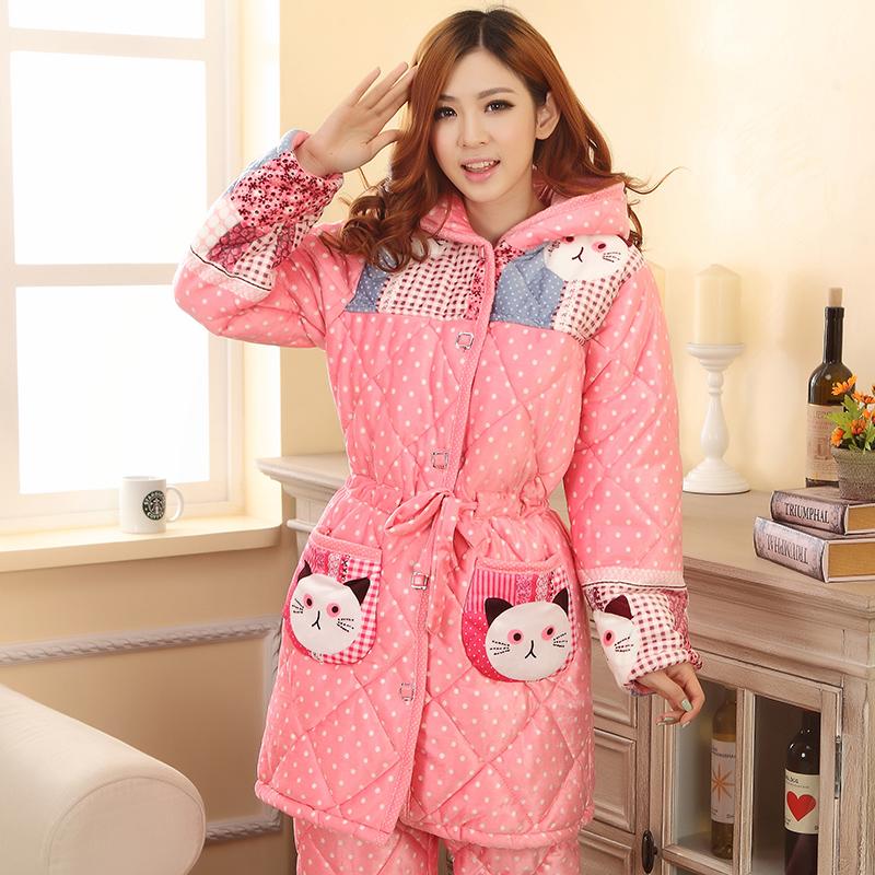 拍下119元 冬季卡通女人夹棉睡衣加厚棉袄珊瑚绒家居服套装中长款